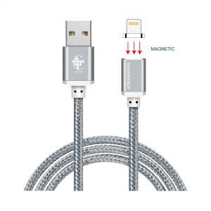 SAATCHITECH Lightning Magnetic Cable 1.0 Meter (Nylon, Zilver)